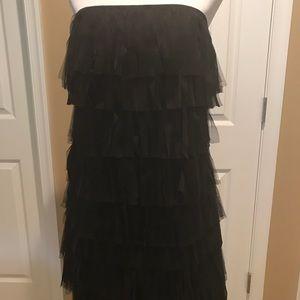 Ann Taylor Black Sheer Fringe Strapless Dress